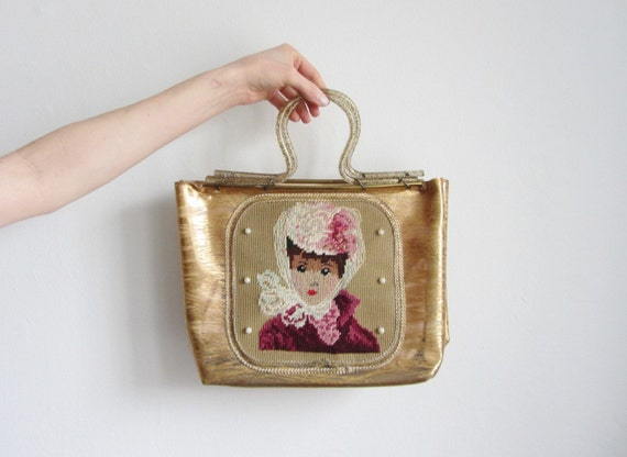 my fair lady lucite plastic purse . 1940 gold flake handbag .sale
