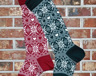 Personalized Knit Christmas Stocking, 100% Wool - Snowflakes & Hearts - CRANBERRY