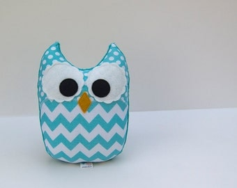 Chevron Owl Plush Baby Toy Minky Softie Mini Pillow Aqua Teal