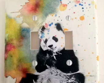 Panda Bear Decorative Double Light Switch Cover Great Kids Room Decor and Baby Nursery Art decor