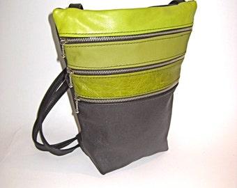 Medium Sized Leather Shoulder Bag / Cross Body Travel Purse -THE EMMA with 4 separate pockets