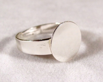 A Little Larger Ring Blanks--10--Silver Plated--SIZE 8 TO 10 with 12mm glue pad--Wider Band