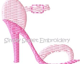 High Heel Shoe Machine Embroidery Design Mini