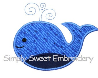 Whale 3 Machine Embroidery Applique Design - INSTANT DOWNLOAD