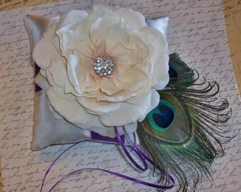 Peacock and Ivory Wedding Ring Bearer Pillow Purple, Turquoise, Aqua, Blue