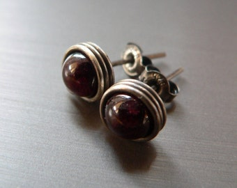 Garnet earstuds, wrapped post earrings, Sterling silver handmade natural, small gift, affordable, gift for grandma, 50th birthday gift