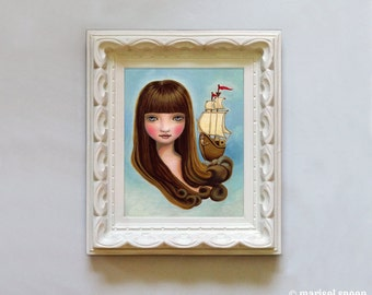 Nautical girl - Stella of the Sea print on somerset velvet- by Marisol Spoon