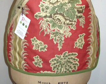 Clearance Ellen style Half  APRON - French Pastoral print  / Beige - Terra Cotta - Olive Green