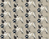 Pugs and Paws cotton fabric