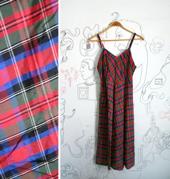 10 DOLLAR SALE Vintage 1970s Red, Blue, Green Plaid spaghetti strap dress