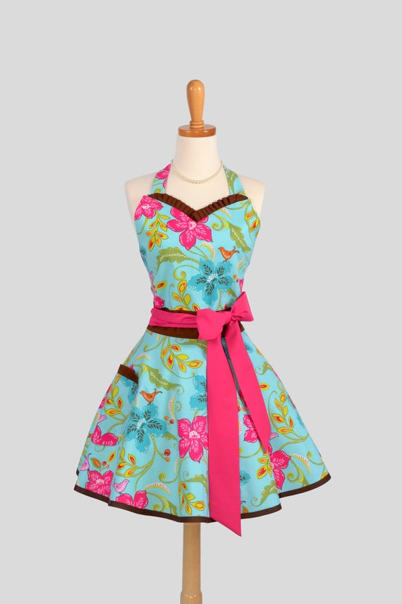 Sweetheart Retro Apron : Handmade Ruffled Floral in Song Bird Jewel with Brown and Hot Pink Trim