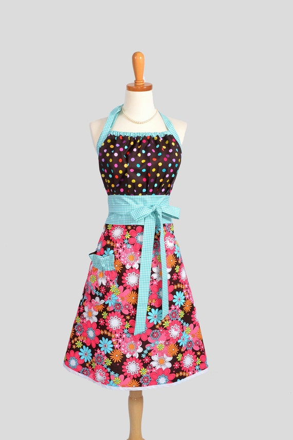 Cute Kitsch Retro Apron , Full Kitchen Womens Apron in Shades of White Aqua Lime Orange Pink Azalea on a Cocoa Brown Background