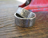 Heart on Tree Bark His and Hers Wedding Bands