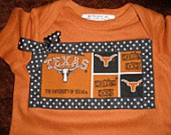 Texas Longhorn Onesie   sizes newborn, 6m, 12m, 18m, and 24m