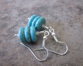 OOAK Artisan Earrings, Turquoise Howlite Trios, White Jade, Bridal, Wedding Jewelry, Something Blue, Winter Fashion, One of a Kind, For Her