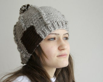 Milky Brown Wool Hat Beanie Brown Patchy with Big PomPom Valentines Day Gift For Her