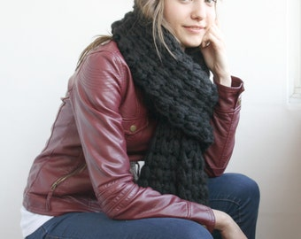 Black Wool Big Extra Long Knit Scarf Perfect Gift Under 75 For Women For Girl Friend Valentine's Gift under75