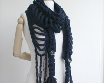 Navy Blue Wool  Scarf with Button Mothers Day gift  UNDER 75USD For Her