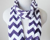 READY TO SHIP - Chevron Infinity Scarf - Jersey Knit - Purple and White