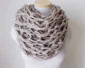 Chunky Knit Cowl - Infinity Scarf in Taupe