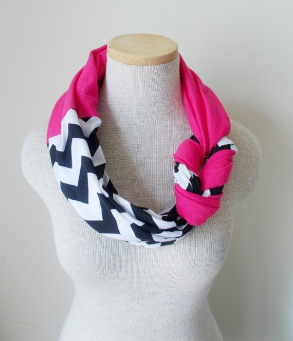 Half Braided Knot Scarf - Black and White Chevron and Hot Pink