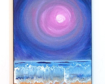 Moon and beach, small ocean painting 8x10  Lunar seascape, shoreline in purple pink and turquoise