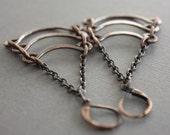 Egyptian cascade copper chandelier earrings with handmade arches - Chandelier earrings