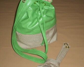 Rich-Loom Leather Lime Green/Khaki Grommet Bag