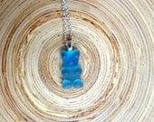 "Gummy Bear Necklace Pendant 22"" Silver Chain 925 Blueberry Blue Trolli"