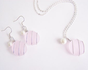 Seaglass Bridesmaids sets - Pink Necklace - Glass Pearl - Other Colors Available - Earrings available - Weddings - affordable - seaside