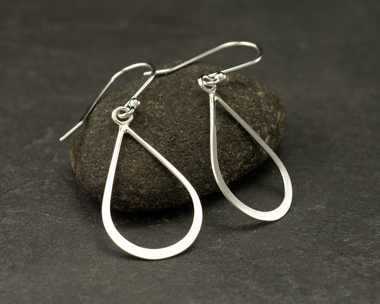 Silver Drop Earrings- Sterling Silver Teardrop Earrings- Silver Dangle Earrings- Handmade Sterling Silver Earrings- Simple Silver Earrings