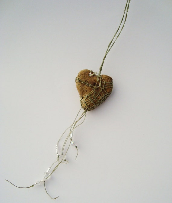 mY hEaRT bELoNGS tO YoU,  Rustic Heart Necklace, Natural Khaki Asymmetrical