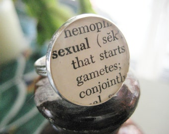 Vintage Sexual Biology Glossary Image set under Resin in a Silver Ring