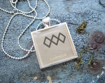 Camphor Chemical Alchemy Vintage textbook Illustration set in Silver Plated Pendant with silver plated Chain