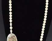 Wonderful Carved Ivory Beaded Necklace Dragon & Floral Carvings