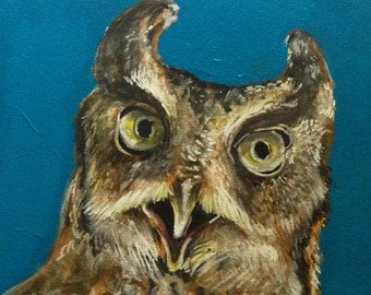 Surprise Owl Horned Owl Original Art Acrylic Painting Raptor