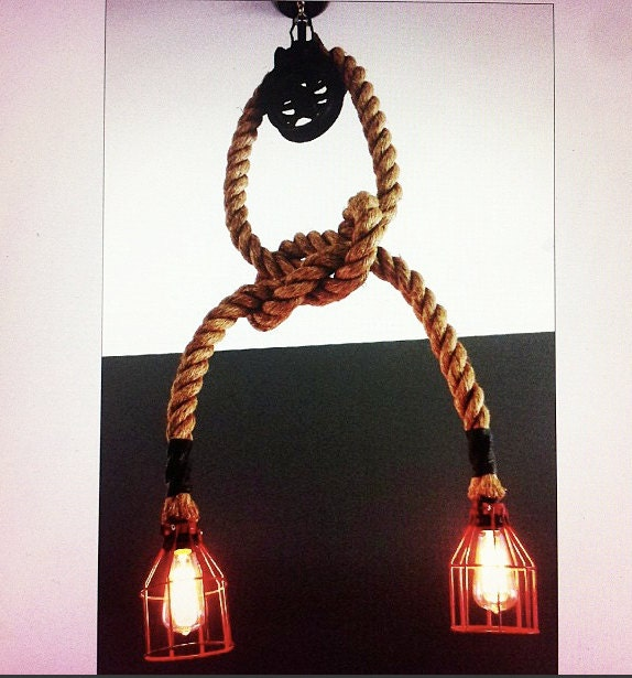 Manila Rope Pulley Light