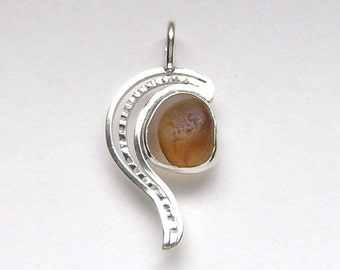 Sea Glass Jewelry - Sterling Rare Victorian English Sea Glass Pendant