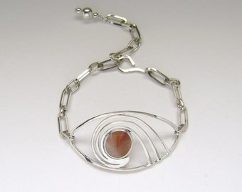 SALE!!  Sea Glass Jewelry - Sterling Orange Half Sea Glass Marble Bracelet