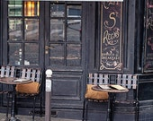 Paris Cafe Photograph, Paris Travel Photo Art Print, Paris Photography, Paris Decor, Black and Gold - Cafe on Ile Saint-Louis