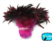 Wholesale Feather, 1 Yard - PINK Half Bronze Strung Rooster Schlappen Feathers (bulk) : 2056