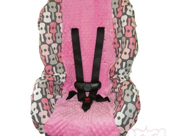Toddler Car Seat Cover Groovy Guitar Bloom with Bubblegum