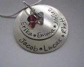 Grandma Necklace, Personalized Necklace, Hand Stamped Necklace, Charm Necklace, Family Necklace