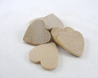 """6 Wooden hearts 2 inch (2"""") 1/4"""" thick unfinished wood hearts diy"""