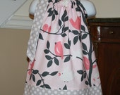 girls birds Easter Pillowcase dress michael miller tweety Easter dress in pink , coral, white, gray by Blake and Bailey
