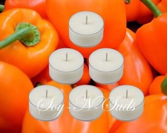 SWEET ORANGE CHILI Pepper Soy Tea Light Candles