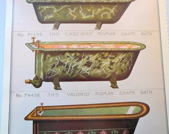 Victorian Clawfoot Bathtubs/Tiles Color Illustration