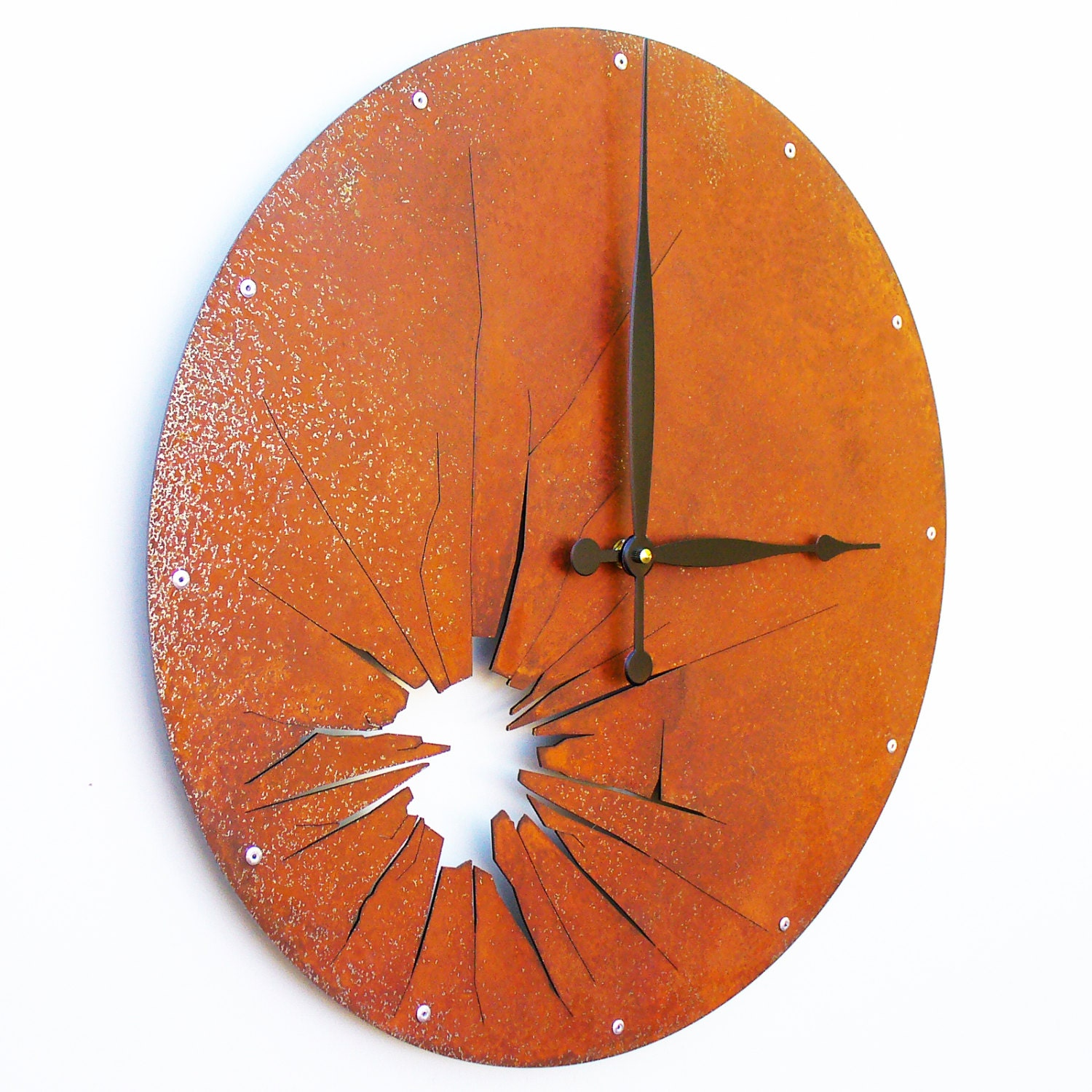 Shattered Metal Wall Clock I Extra Large Rusted By All15Designs