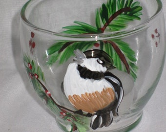 Hand Painted Votive Holder with Chickadees