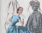 1950s McCall's Womens Twisted Neck Full Skirt Dress Misses Size 16 Reduced